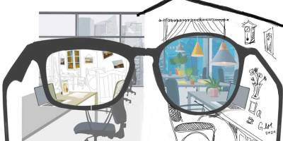 Office through a pair of glasses